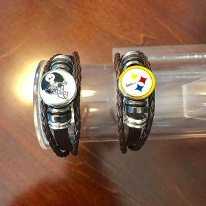 NFL Pittsburgh Steelers Brown Leather Bracelet